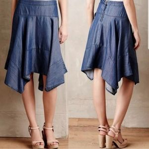 Anthropology HD In Paris Hanky Chambray Skirt